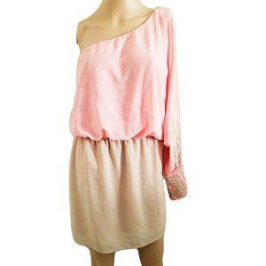 Marineblu Women's One-Shoulder Peach Short Dress L